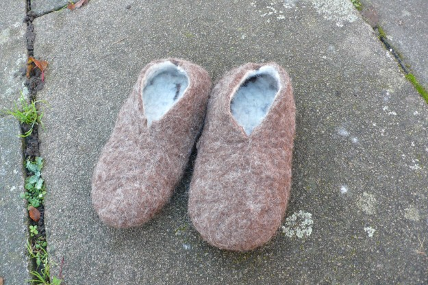 home made felt slippers