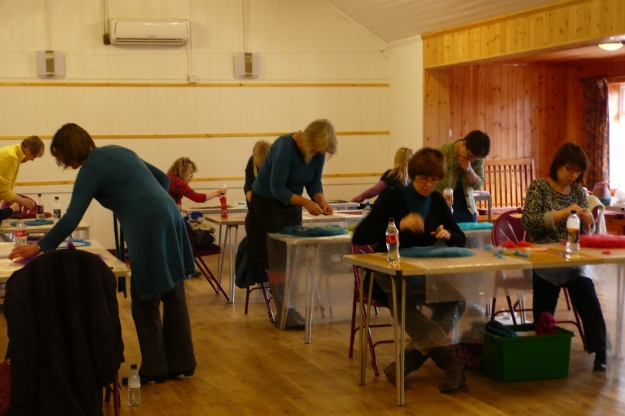 Felting in village hall