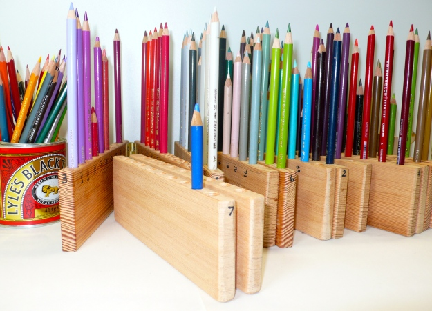 Wooden blocks for holding pencils