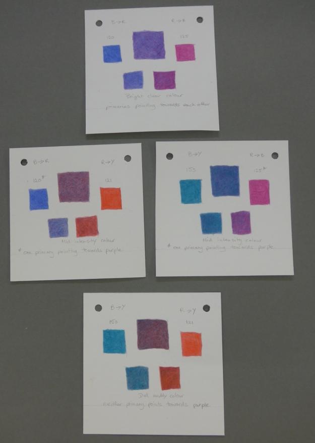 Purple colour swatches